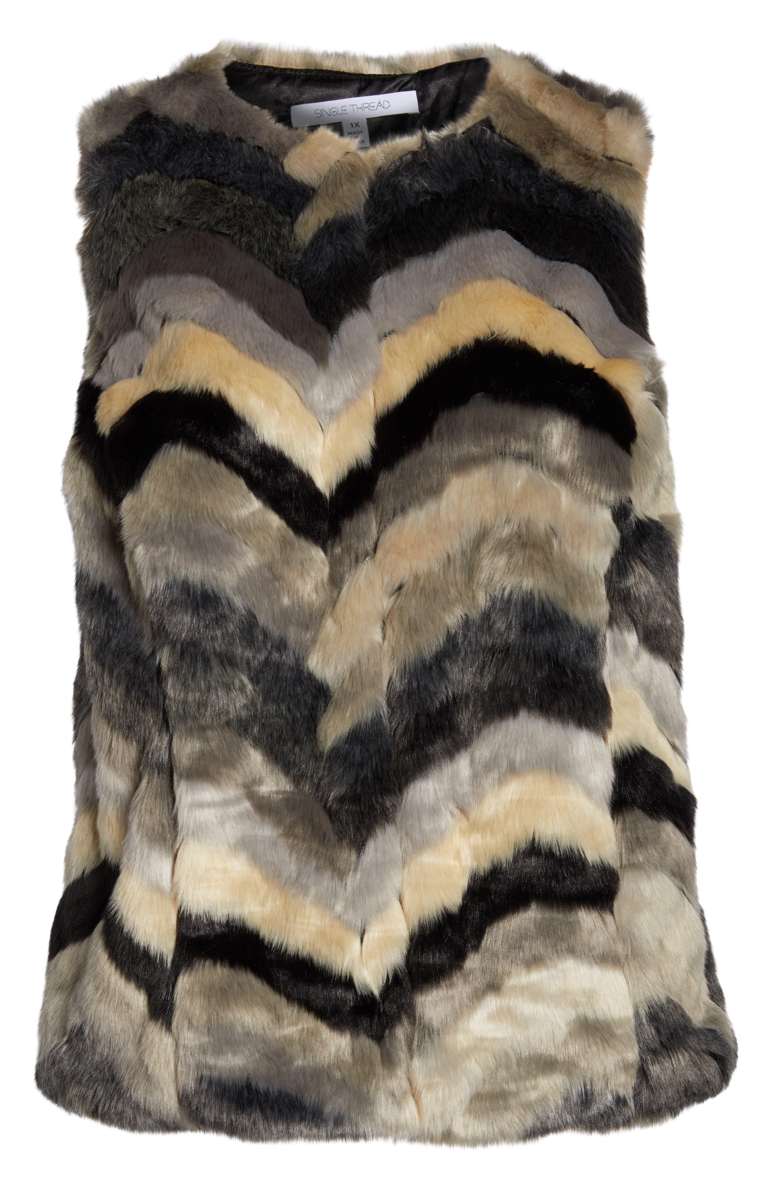 ,                             Chevron Faux Fur Vest,                             Alternate thumbnail 7, color,                             001