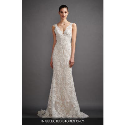 Lazaro Lucia Mikado & Soutache Lace Trumpet Wedding Dress, Size IN STORE ONLY - Ivory