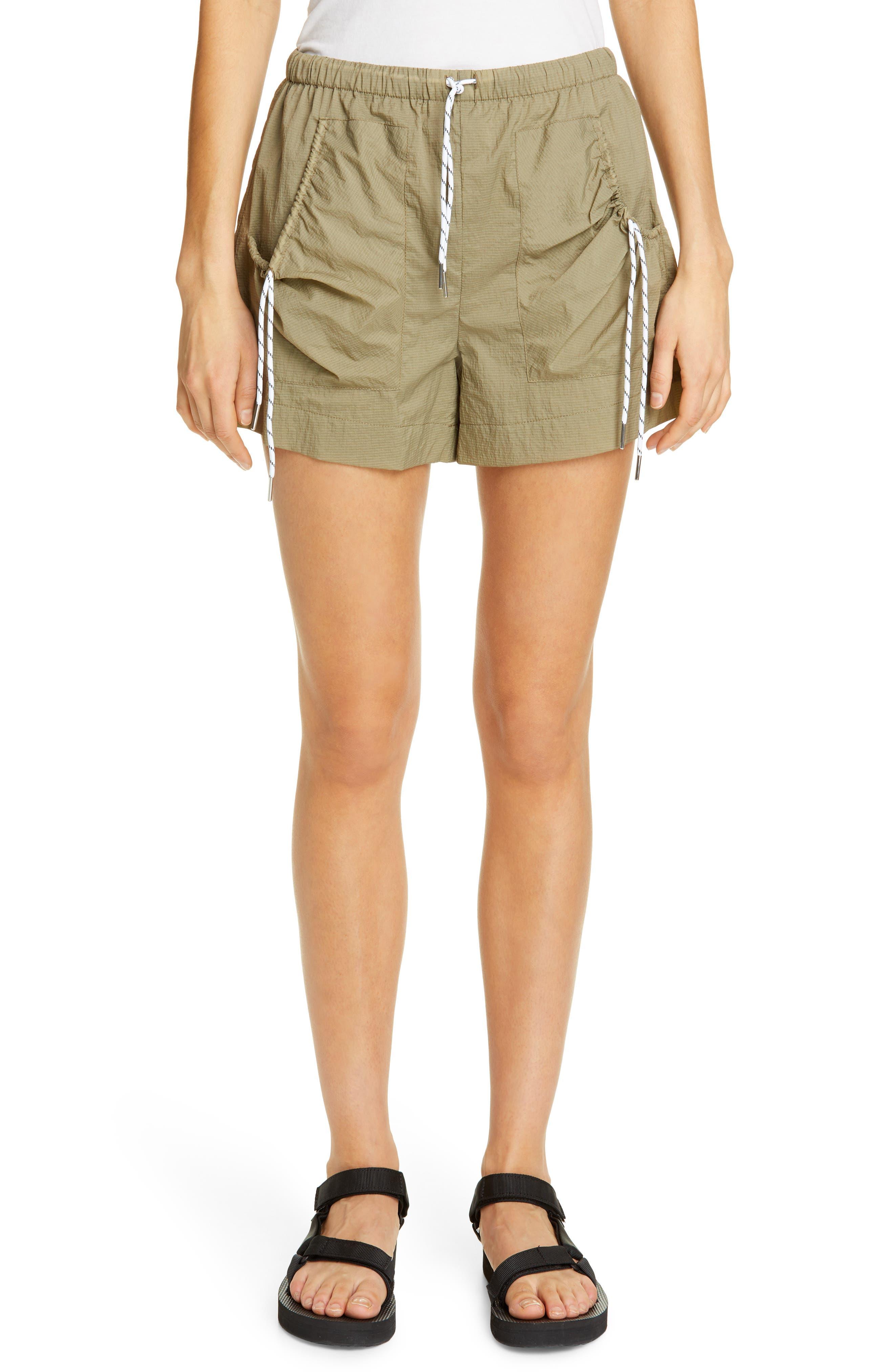 Ganni Ripstop Shorts, Green