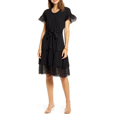 Rachel Parcell Eyelet A-Line Dress, Black (Nordstrom Exclusive)