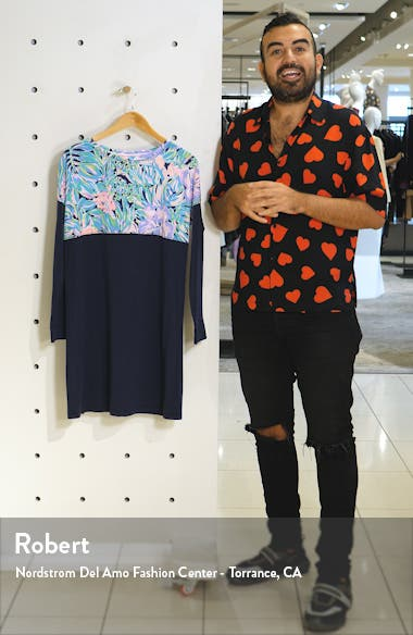 Finn Long Sleeve Crewneck Cotton Shift Dress, sales video thumbnail