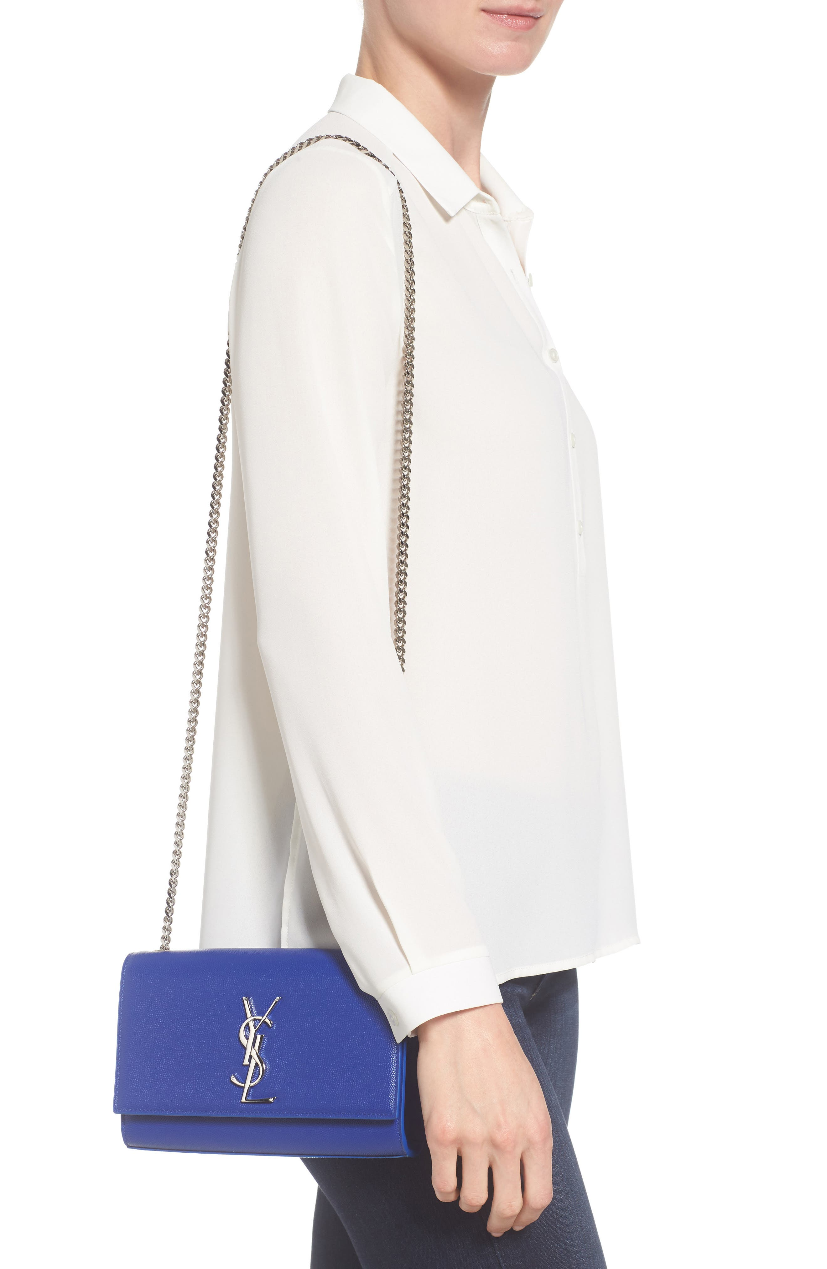 ,                             Small Kate Grained Leather Crossbody Bag,                             Alternate thumbnail 2, color,                             NOIR