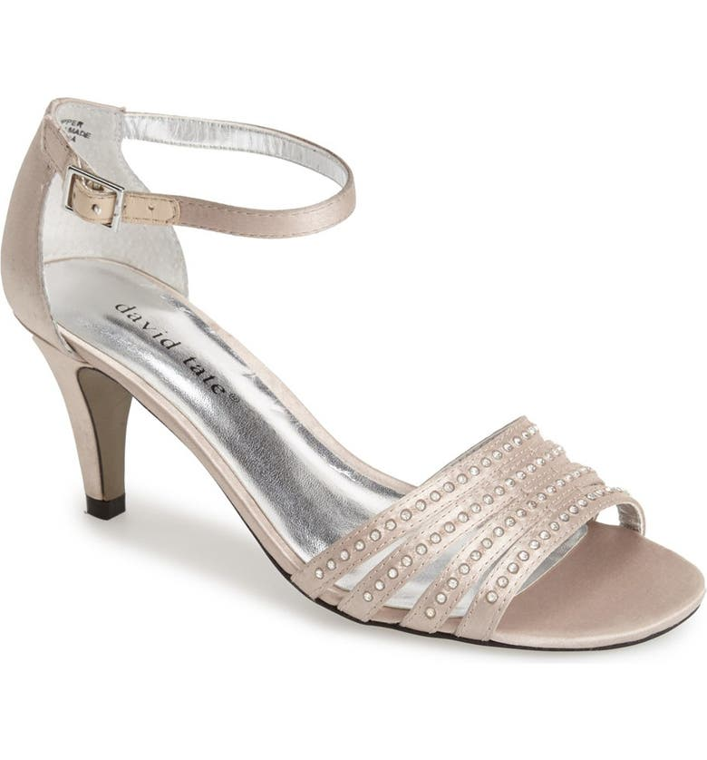 DAVID TATE 'Terra' Ankle Strap Sandal, Main, color, CHAMPAGNE SATIN