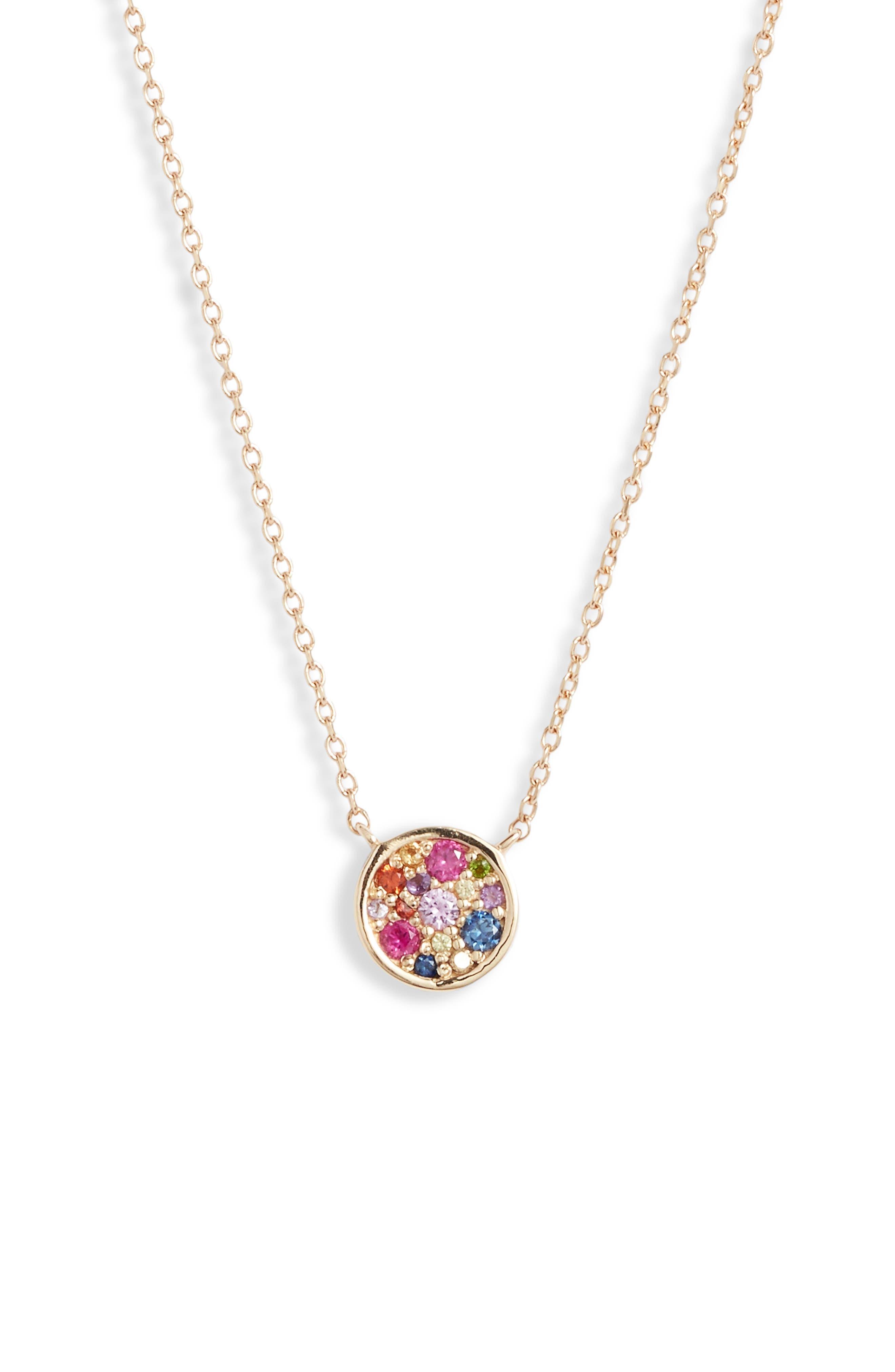 Love Rainbow Round Pendant Necklace