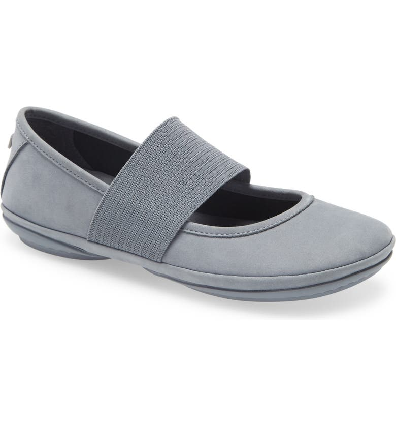CAMPER Right Nina Leather Ballerina Flat, Main, color, GREY LEATHER