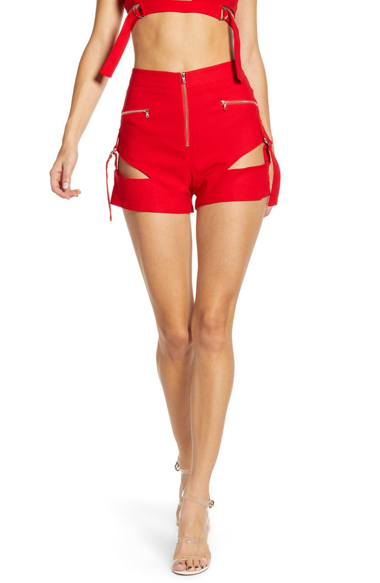 TIGER MIST Reed Slashed Utility Shorts, Main, color, RED