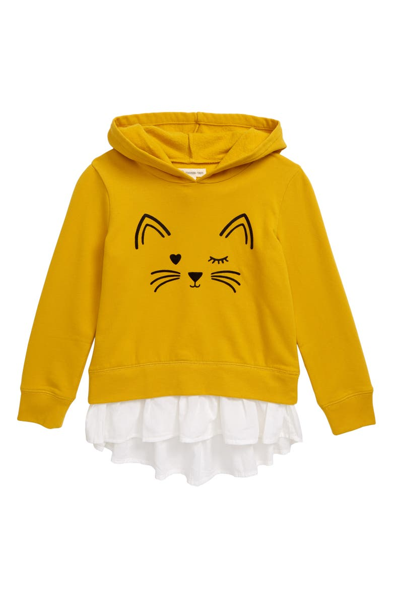 TUCKER + TATE Cat Face Fleece Hoodie, Main, color, YELLOW NUGGET CAT FACE