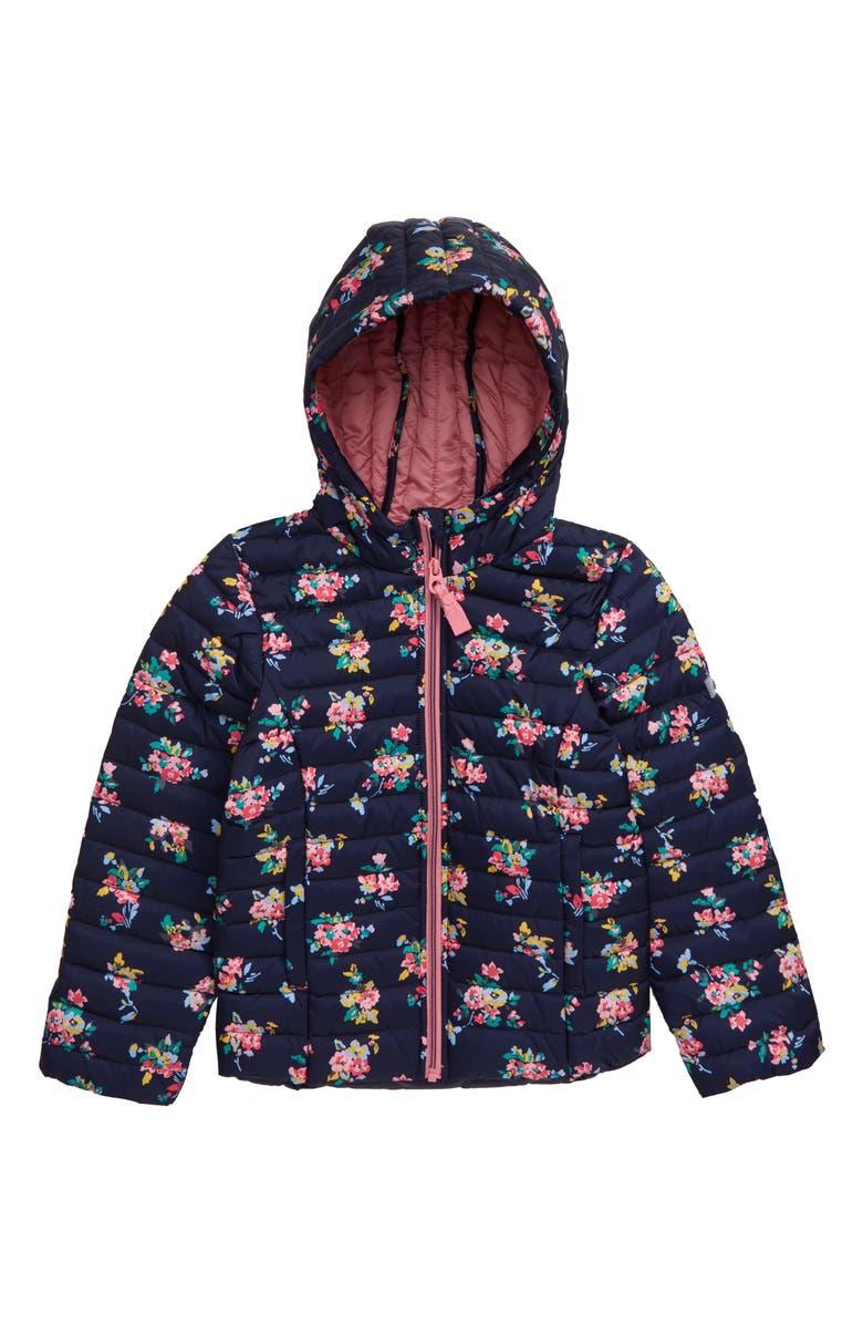 JOULES Kinnaird Floral Print Packable Hooded Jacket, Main, color, NVYDTSYFLR