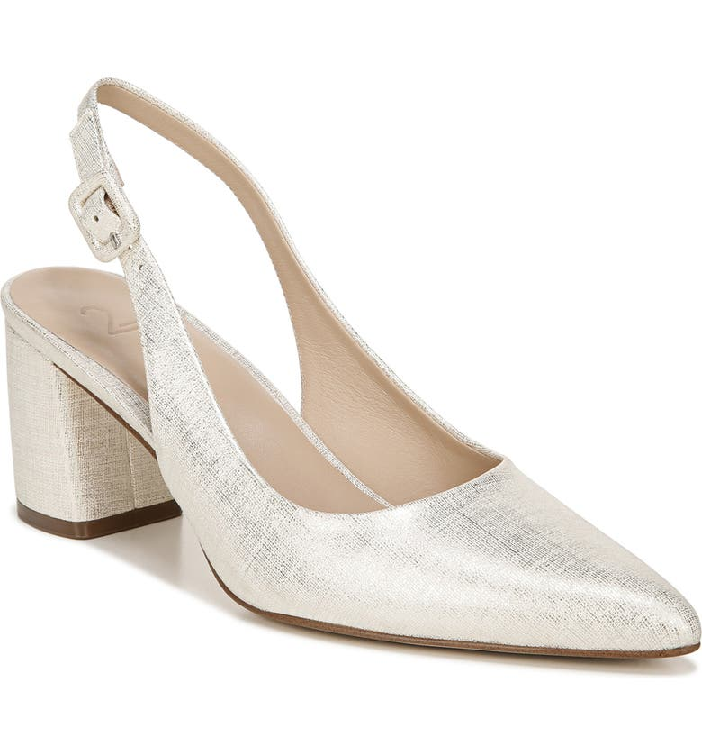 27 EDIT Meera Slingback Pump, Main, color, WHITE SILVER LEATHER