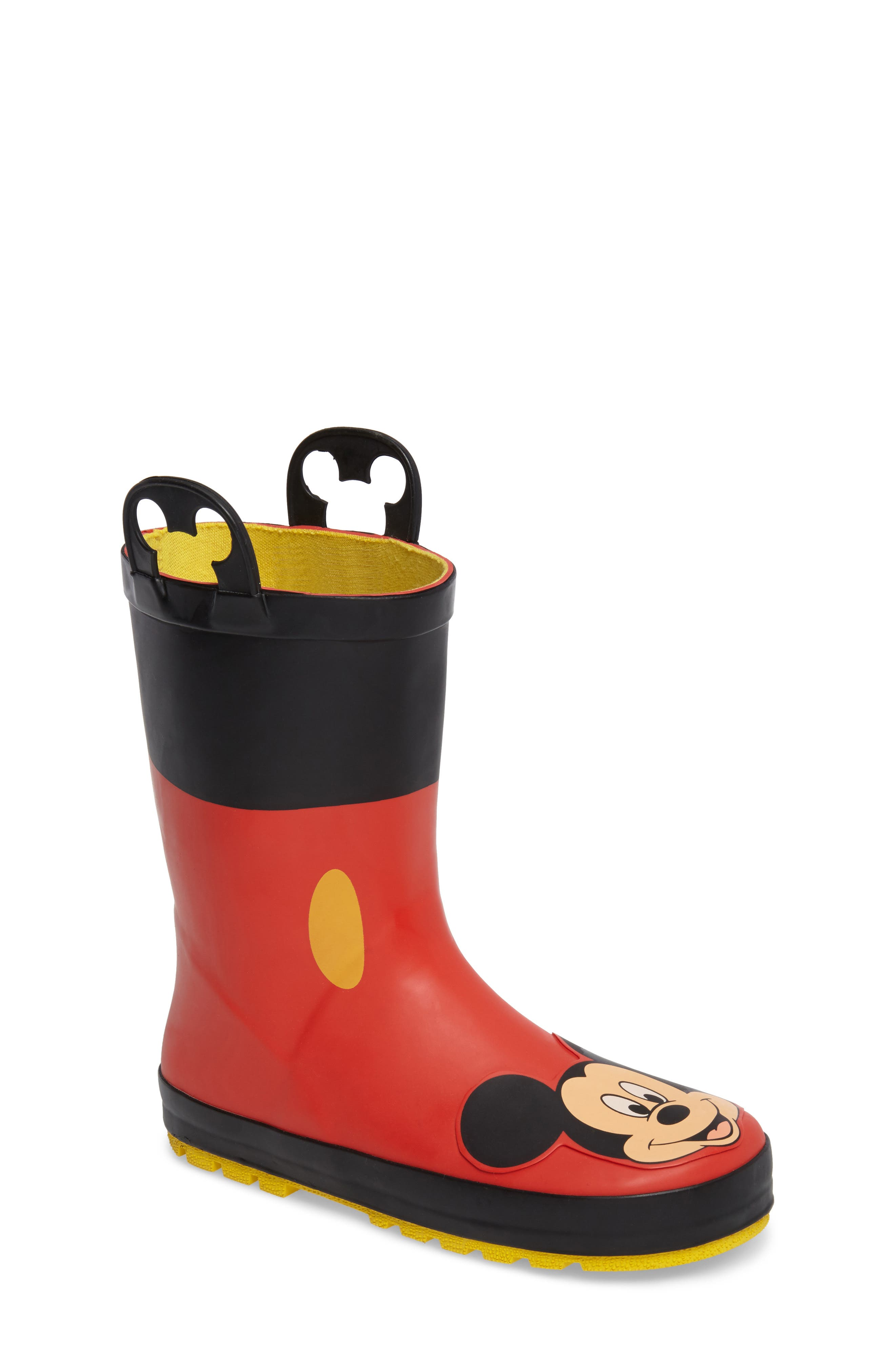 ,                             Mickey Mouse Rain Boot,                             Main thumbnail 1, color,                             RED