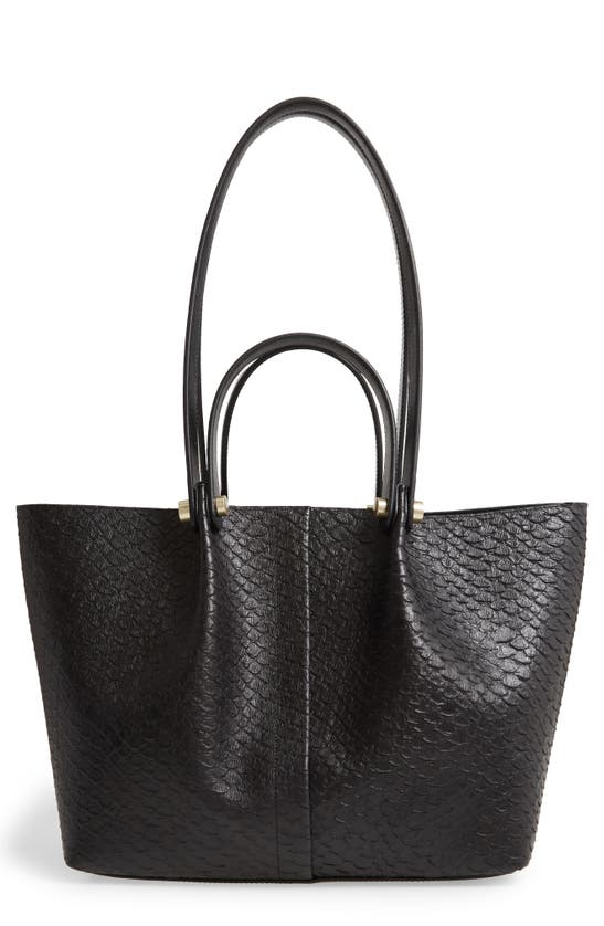 ALLSAINTS Leathers ALLINGTON SMALL SNAKE EMBOSSED LEATHER TOTE