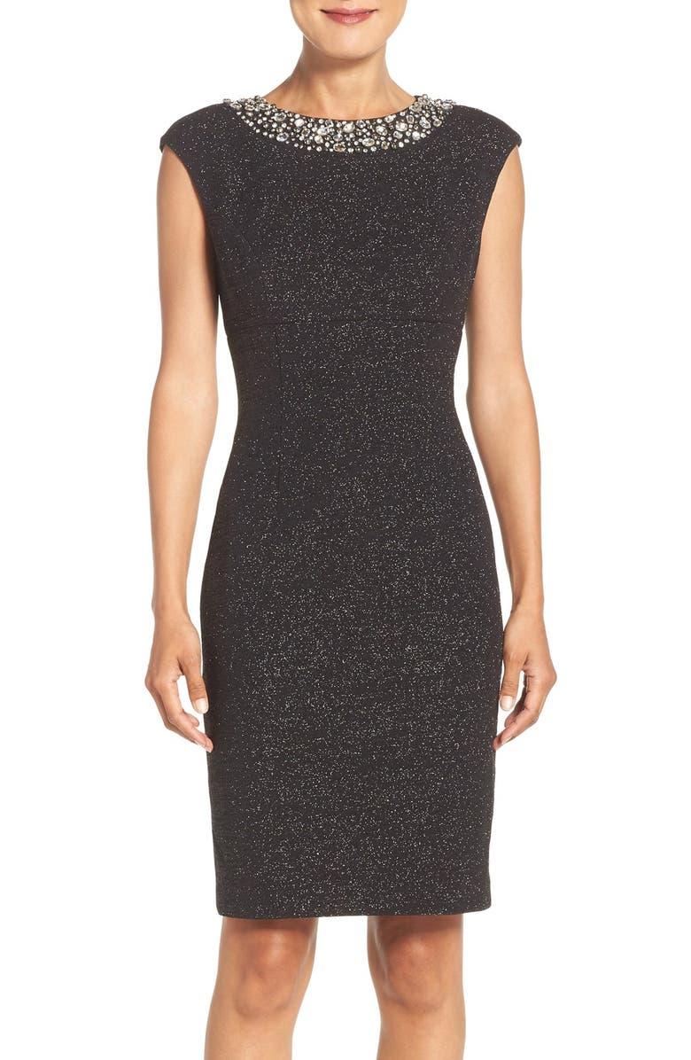 ELIZA J Embellished Sparkle Knit Sheath Dress, Main, color, 001
