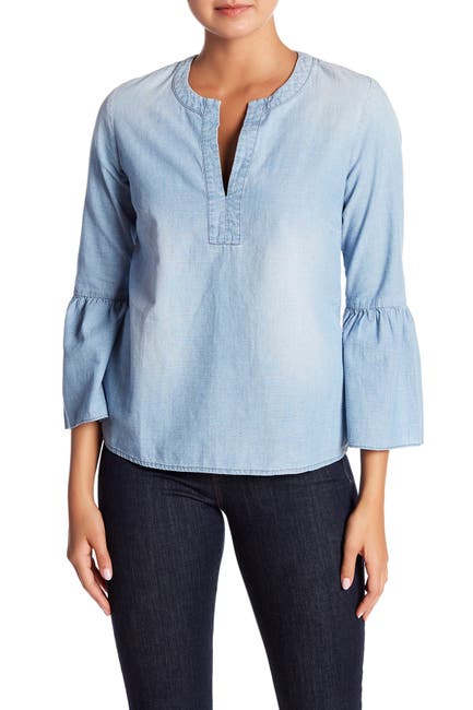 Image of J. Crew Chambray Bell Sleeve Top