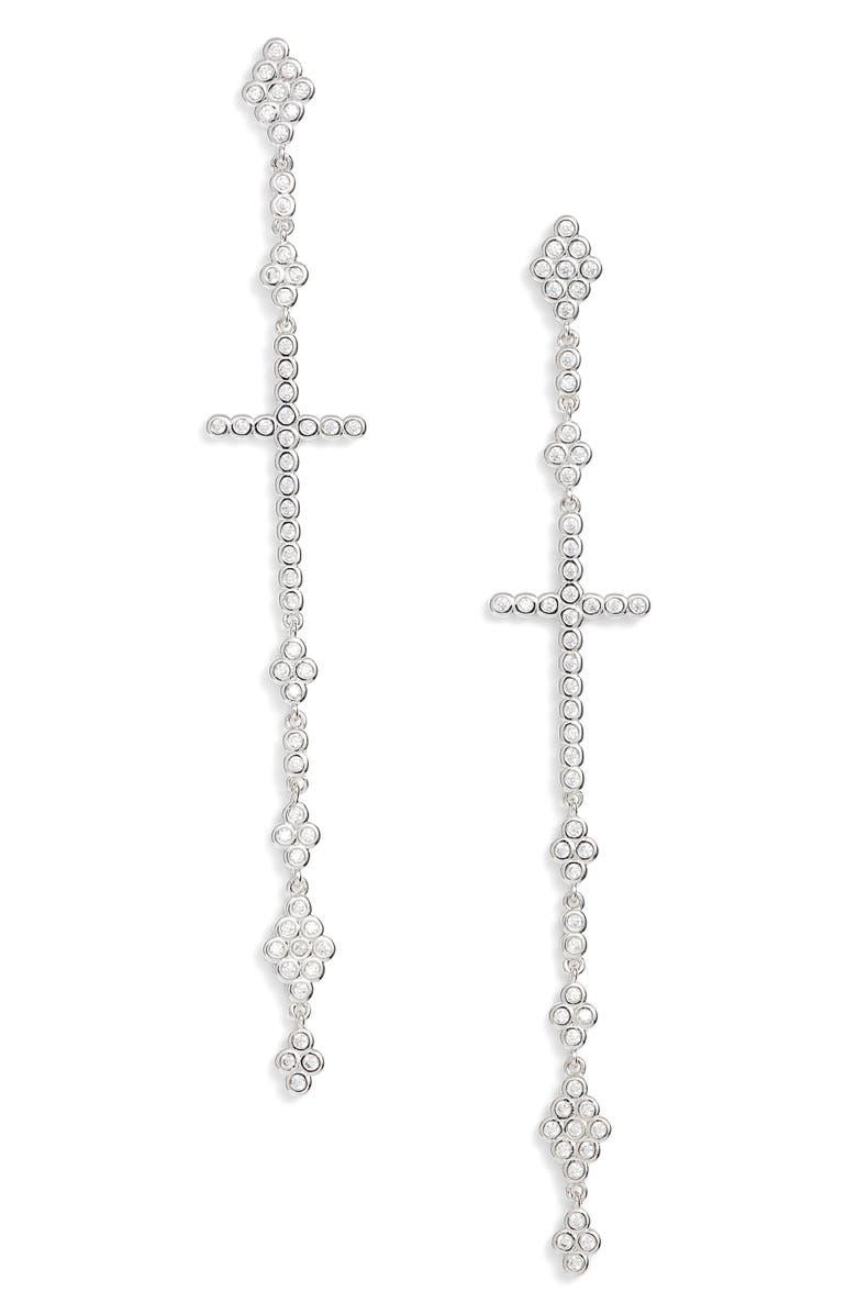MELINDA MARIA Linear Cross Earrings, Main, color, 041