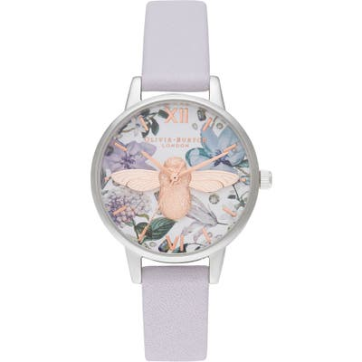 Olivia Burton Bejewelled Floral Leather Strap Watch, 30Mm