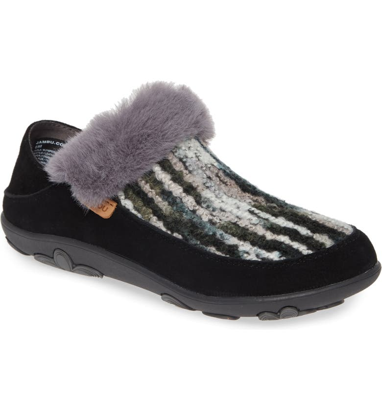 JAMBU Perla Faux Fur Convertible Clog, Main, color, 001