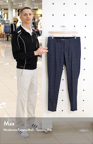 Flat Front Windowpane Wool Dress Pants, sales video thumbnail