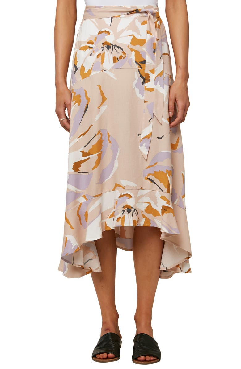 O'NEILL Madora Ruffle Trim Midi Skirt, Main, color, BLUSH