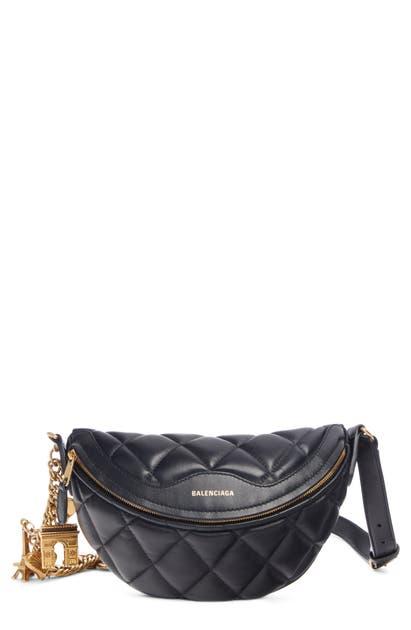 Balenciaga Extra Extra Small Souvenir Logo Leather Belt Bag In Black