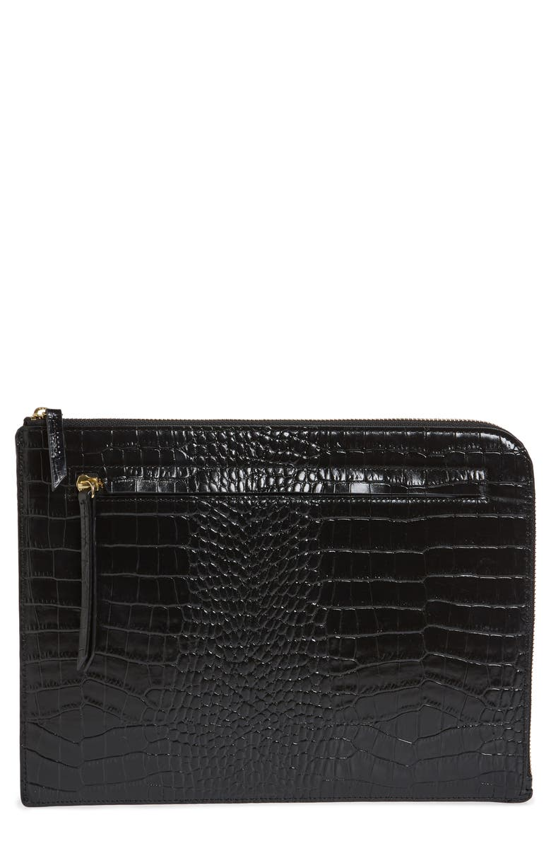 NORDSTROM Zip Top Leather Pouch, Main, color, BLACK