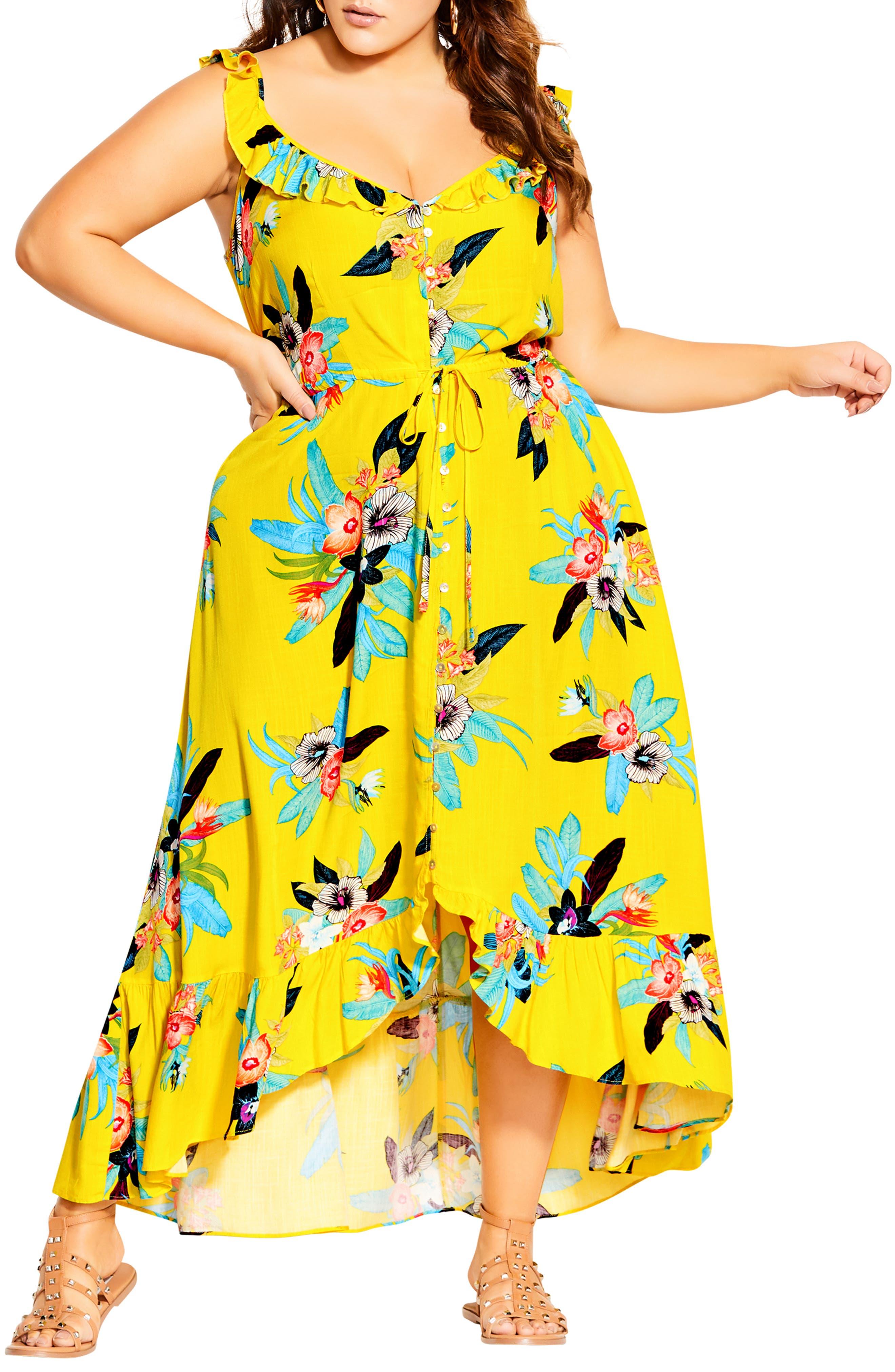 Elba Frill Floral Print High Low Maxi Dress