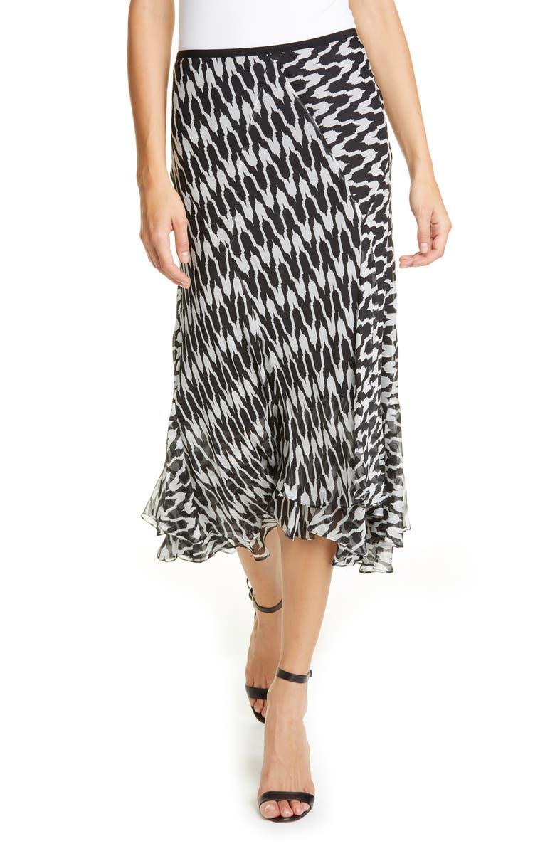 DVF Debra Houndstooth Silk Blend Skirt, Main, color, EMPIRE HOUNDSTOOTH IVORY