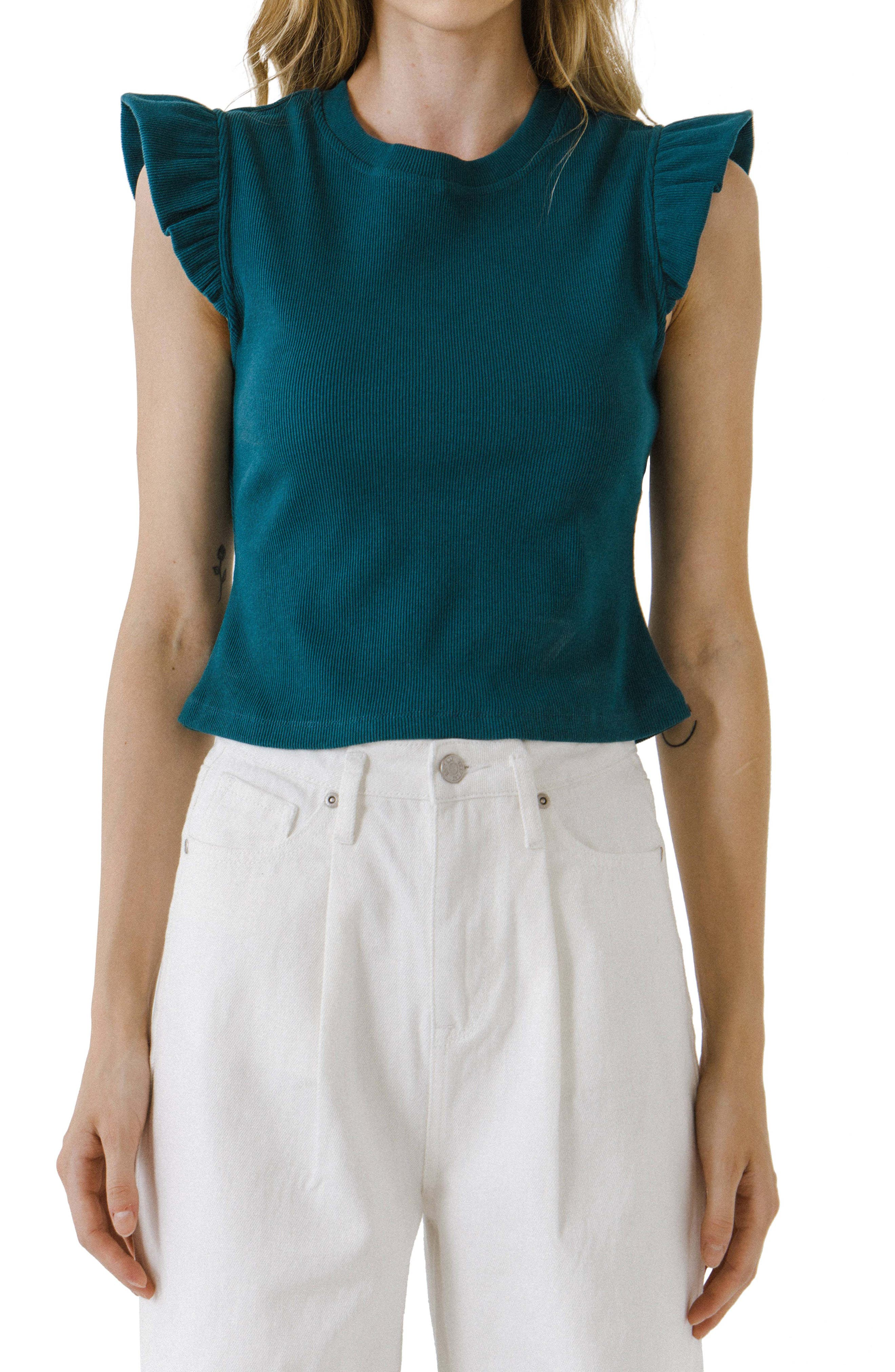 Ruffle Shoulder Cotton Blend Knit Top