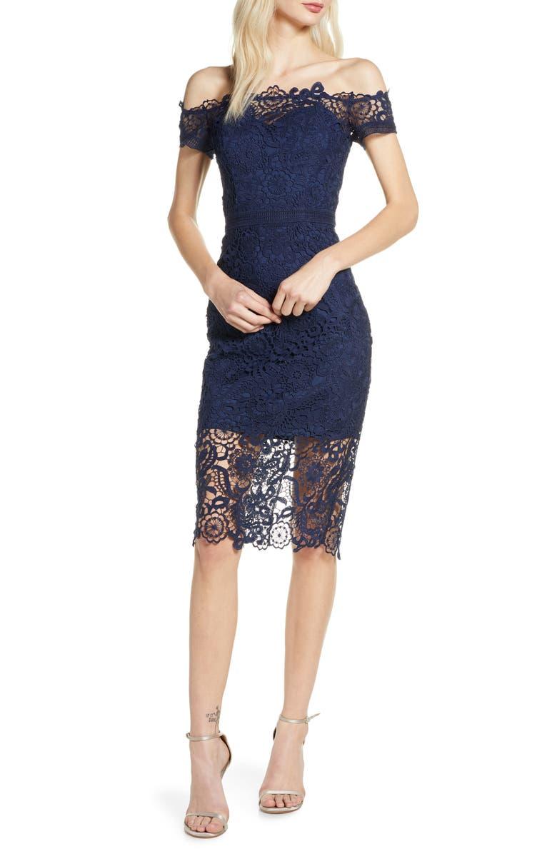 CHI CHI LONDON Eriella Off the Shoulder Lace Dress, Main, color, NAVY