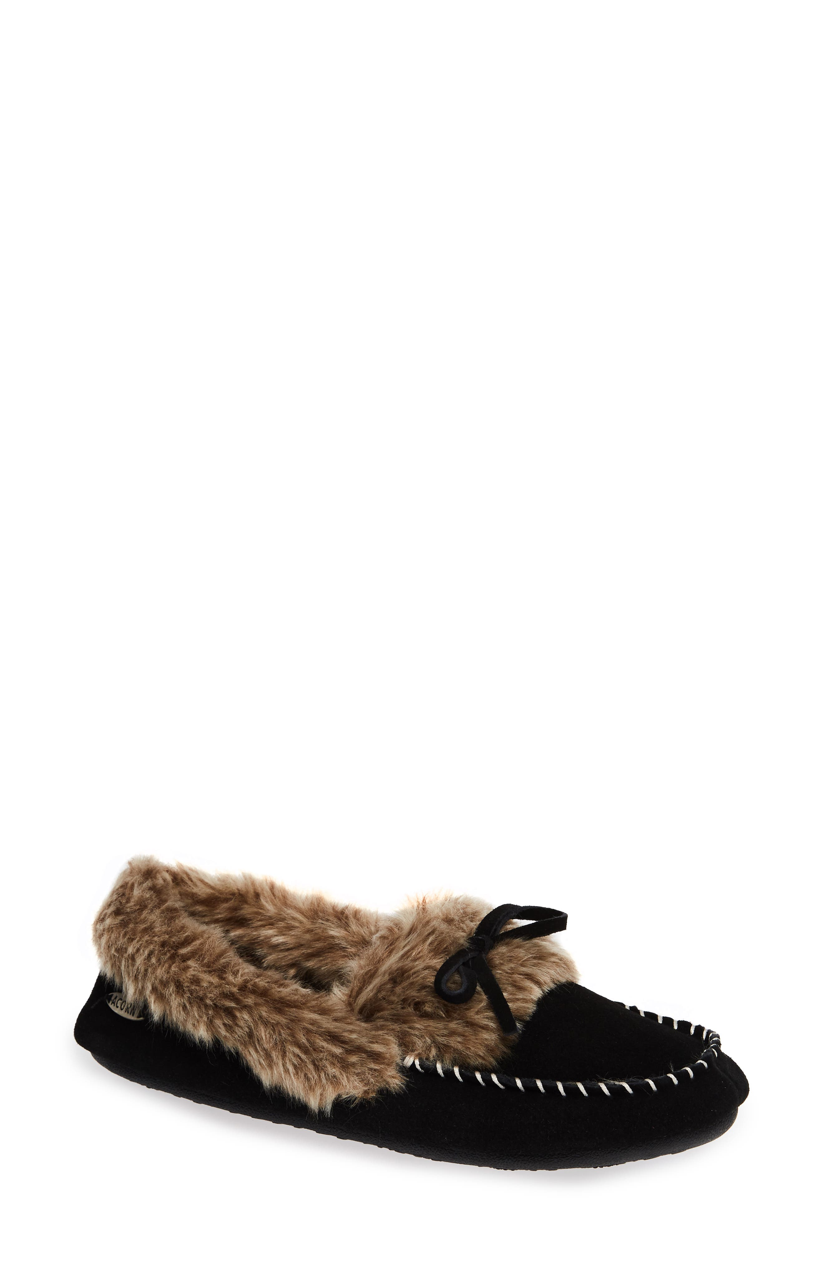 ,                             Faux Fur Trim Moccasin Indoor/Outdoor Slipper,                             Main thumbnail 1, color,                             BLACK SUEDE