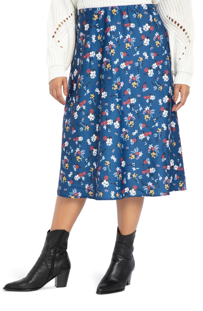 ELOQUII Floral Stretch Satin Midi Skirt, Main, color, MAKING ME DAISY