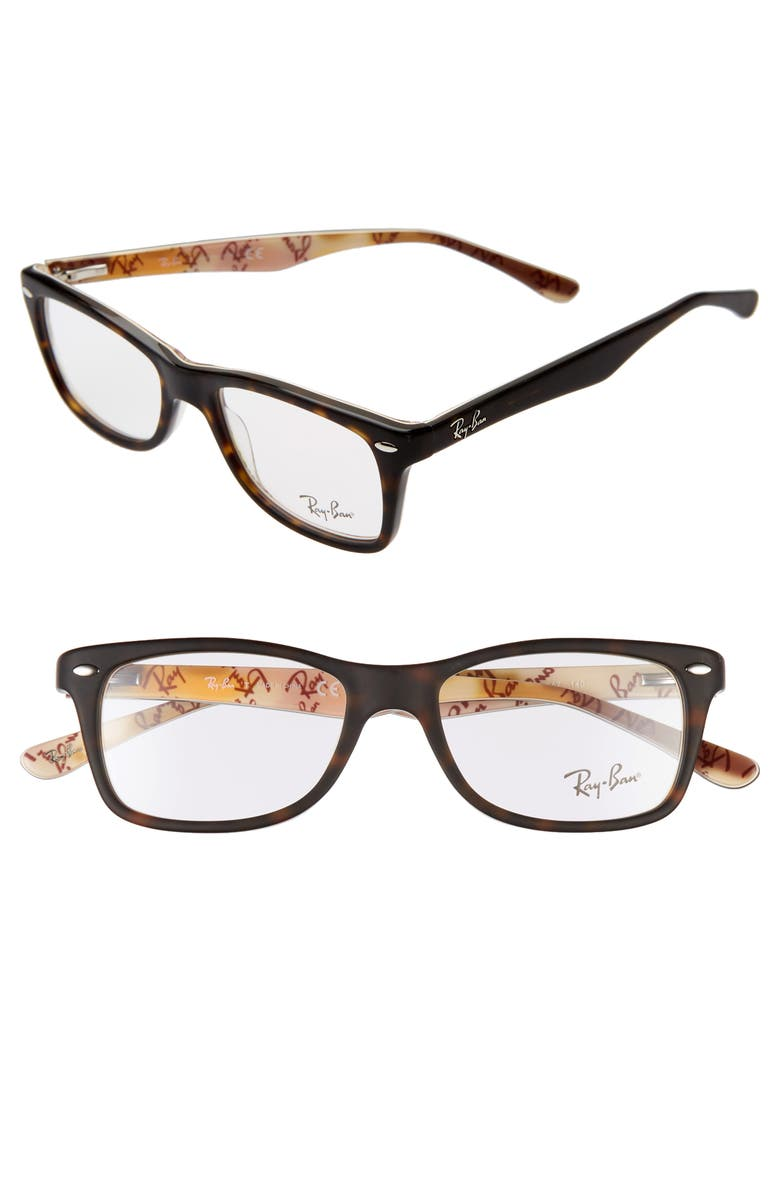 RAY-BAN 50mm Square Optical Glasses, Main, color, HAVANA