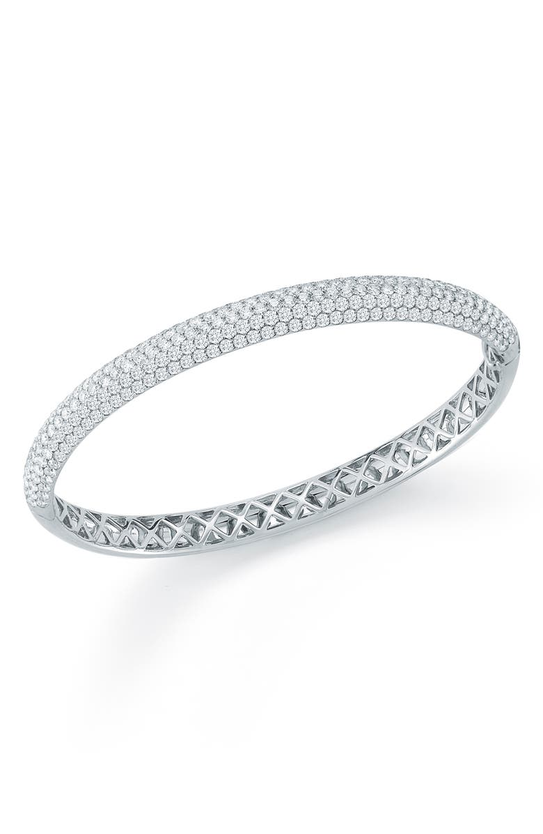 KWIAT Pavé Diamond Stackable Bangle, Main, color, WHITE GOLD