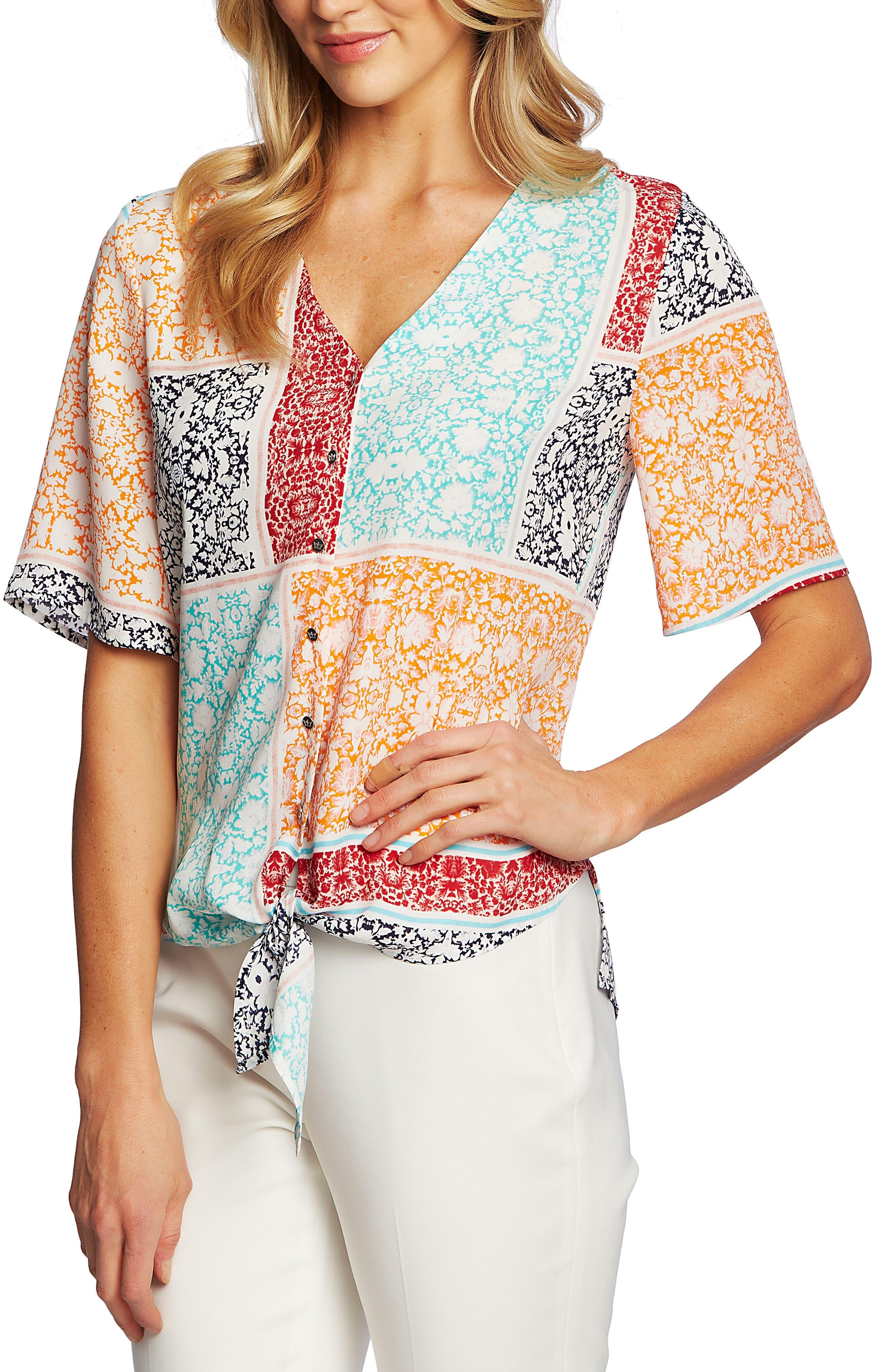 ,                             Patchwork Floral Print Tie Front Blouse,                             Alternate thumbnail 3, color,                             EVENING NAVY