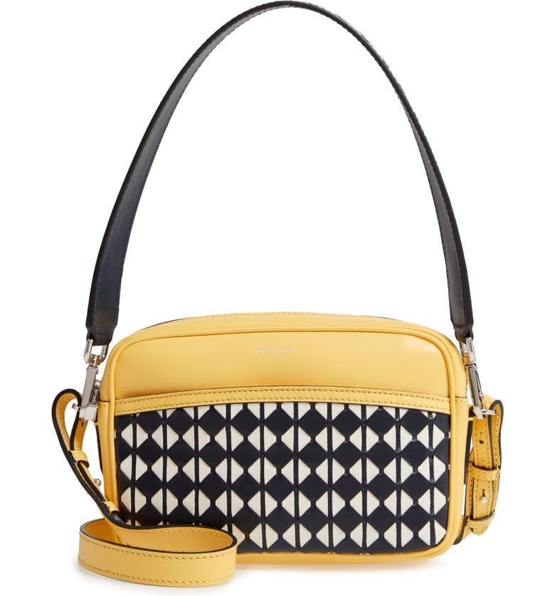 SERAPIAN MILANO Mini Leather Crossbody Bag, Main, color, LEMON/ NAVY/ OFF WHITE