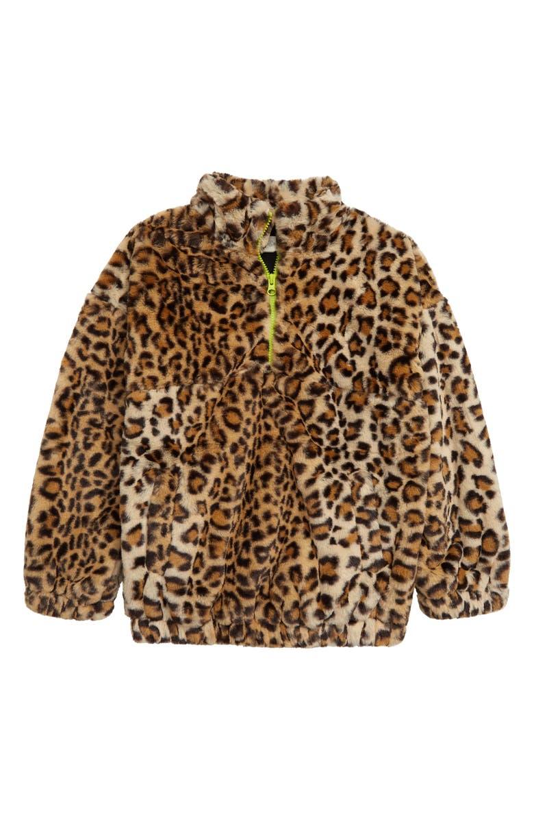 TREASURE & BOND Kids' Leopard Print Faux Fur Half Zip Jacket, Main, color, TAN DALE CHEETAH