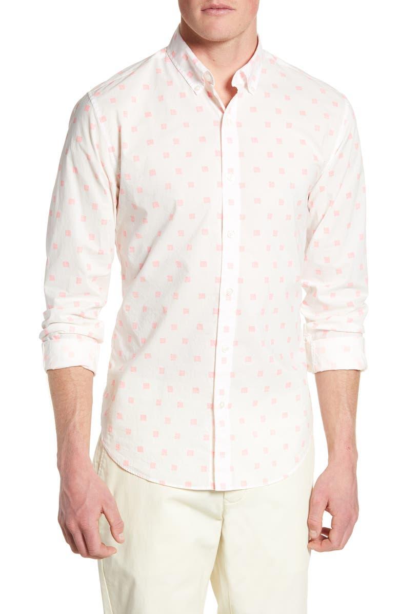 BONOBOS Summerweight Slim Fit Print Shirt, Main, color, WEAVES SQUARE - POPSICLE