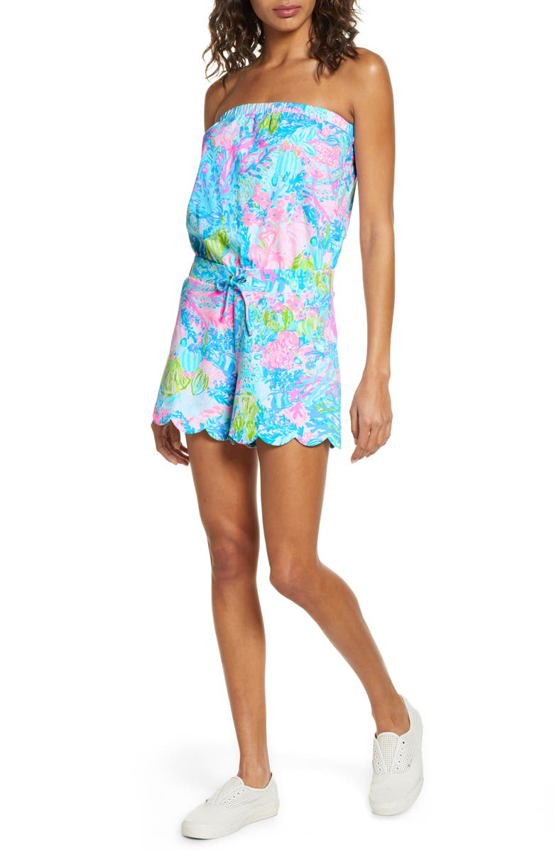 LILLY PULITZER<SUP>®</SUP> Scallop Hem Strapless Romper, Main, color, 440