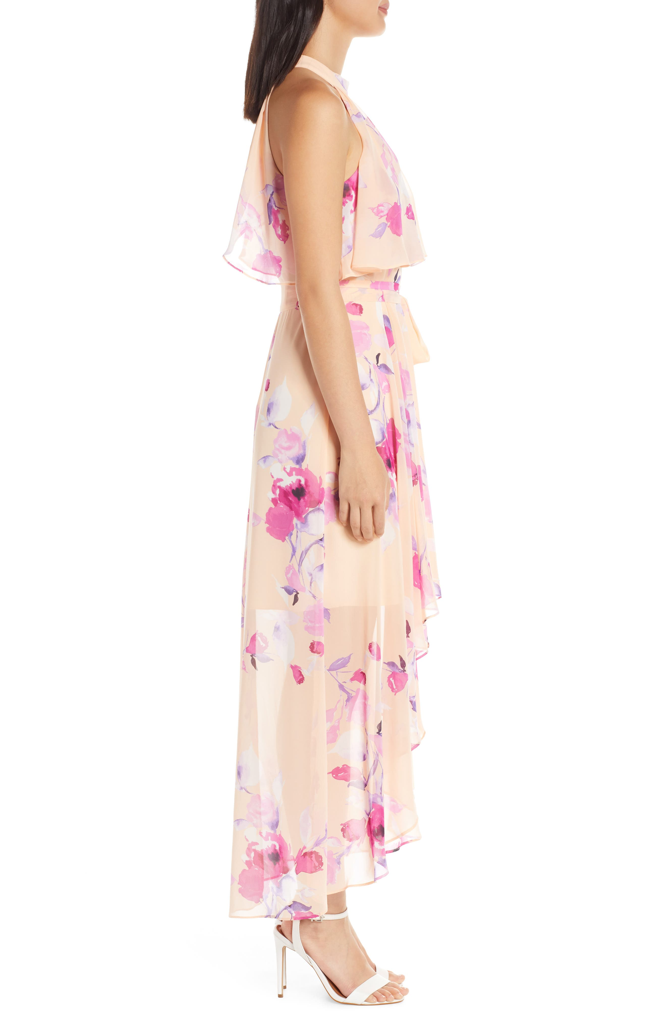,                             Halter High/Low Midi Dress,                             Alternate thumbnail 4, color,                             BLUSH