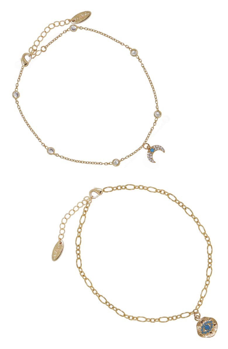 ETTIKA Eye & Horn Anklet Set, Main, color, GOLD
