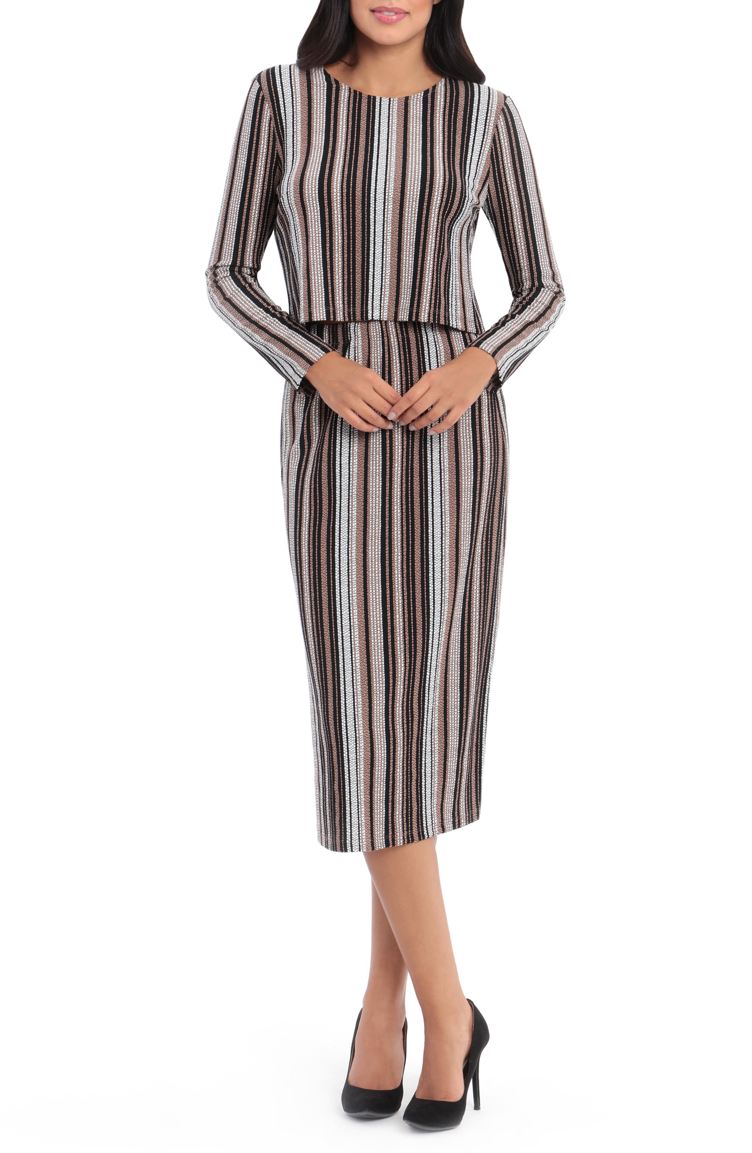 Textured Stripe Long Sleeve Two-Piece Midi Dress