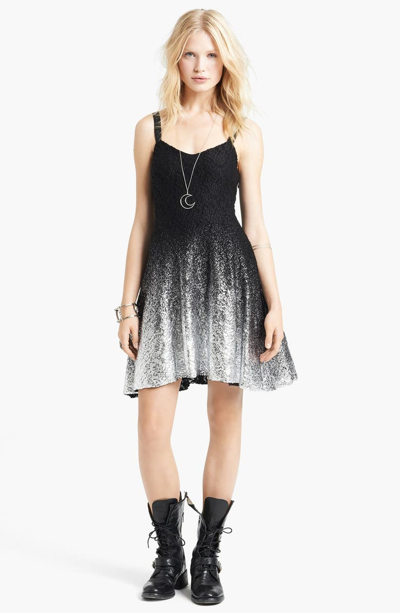 FREE PEOPLE Foiled Ombré Lace Fit & Flare Dress, Main, color, 001