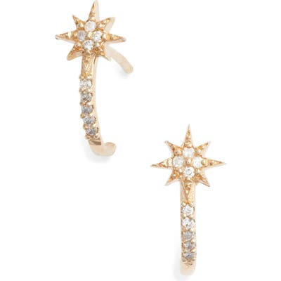 Anzie Diamond Star Half Hoop Huggie Earrings