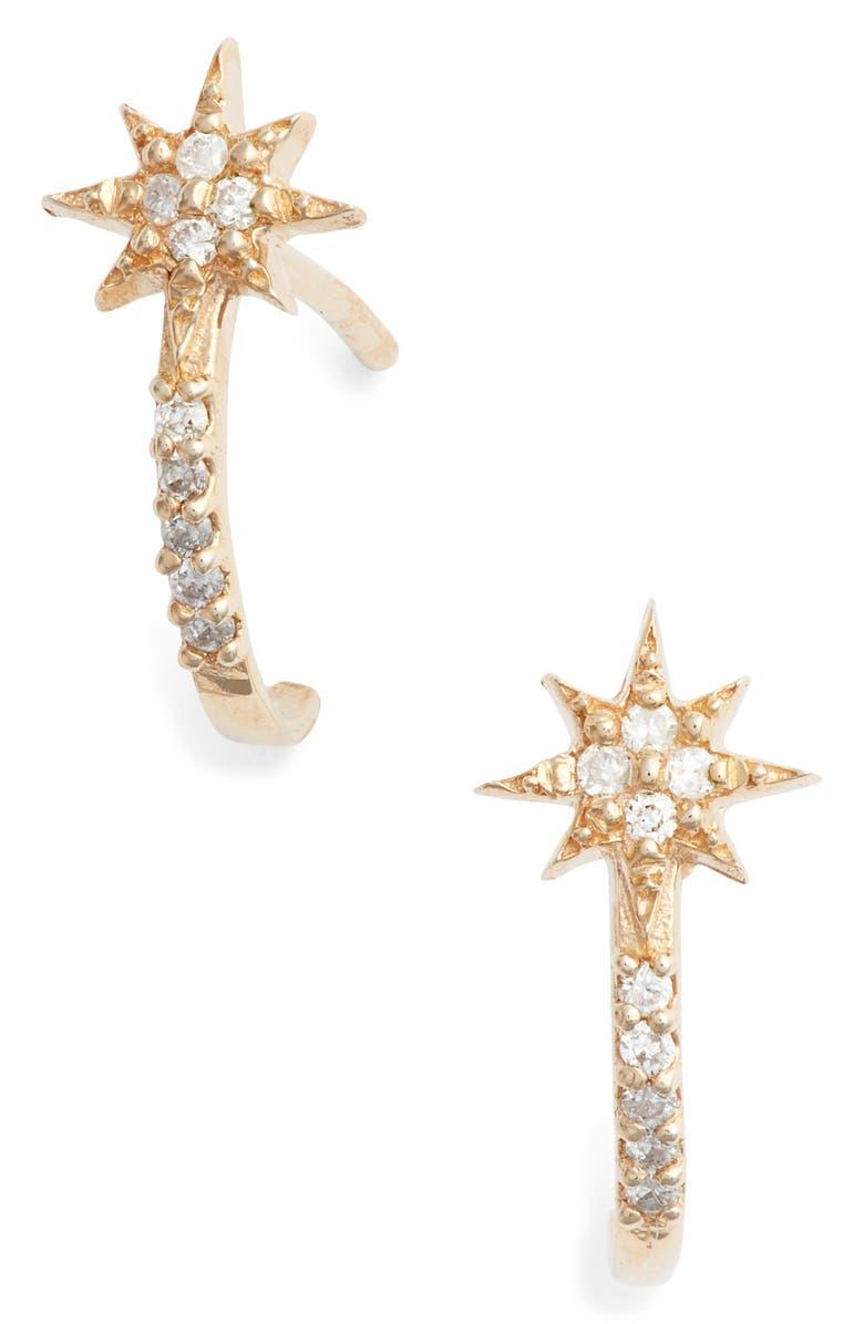 ANZIE Diamond Star Half Hoop Huggie Earrings, Main, color, GOLD