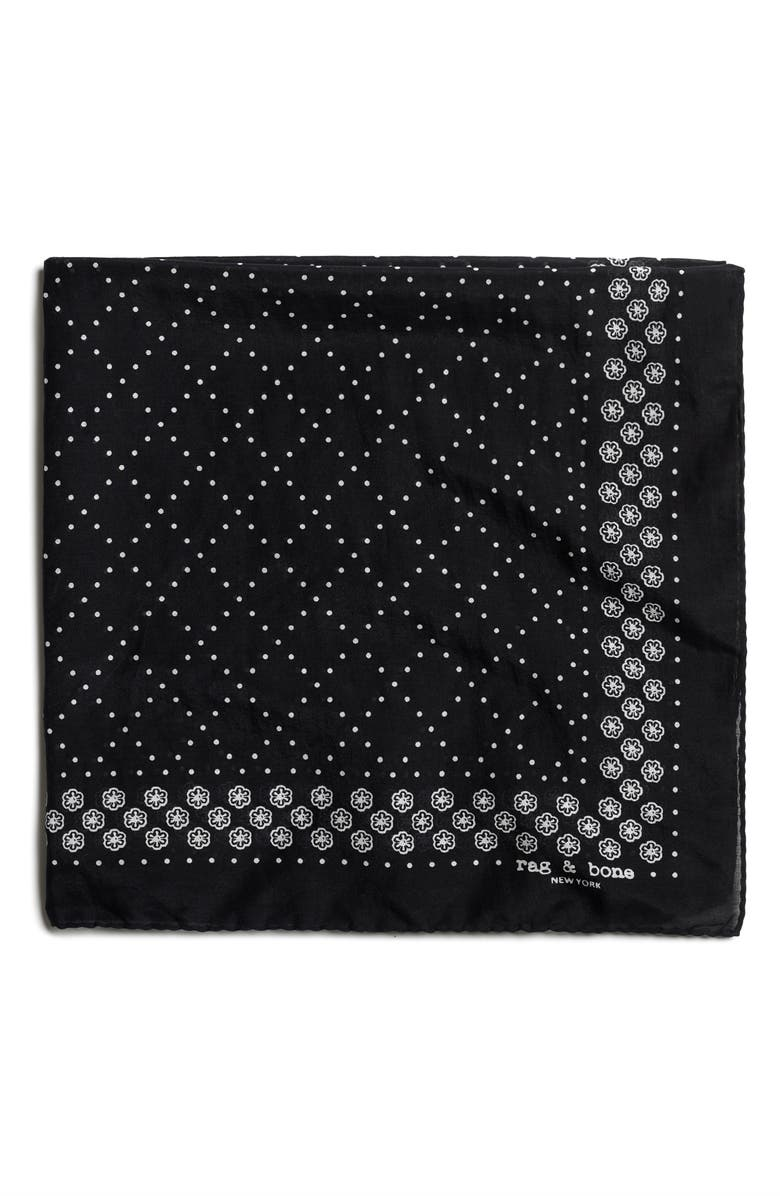 RAG & BONE Medallion Bandana Silk Blend Scarf, Main, color, BLACK MULTI