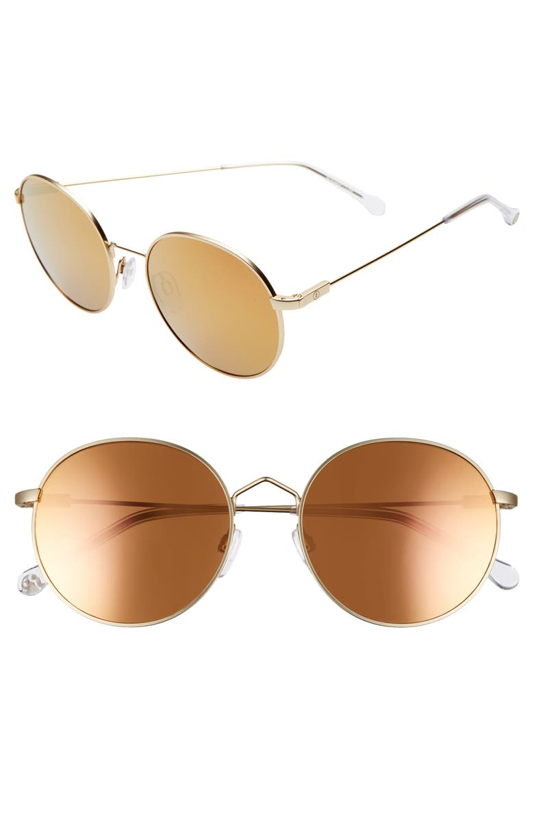 ELECTRIC Hampton 50mm Round Sunglasses, Main, color, LIGHT GOLD/ CHAMPAGNE CHROME