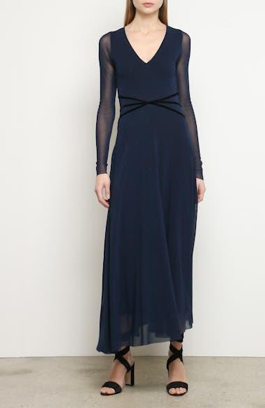 Velvet Detail Long Sleeve Asymmetrical Maxi Dress, video thumbnail