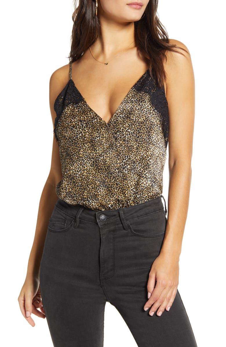 SOCIALITE Lace Trim Bodysuit, Main, color, LEOPARD