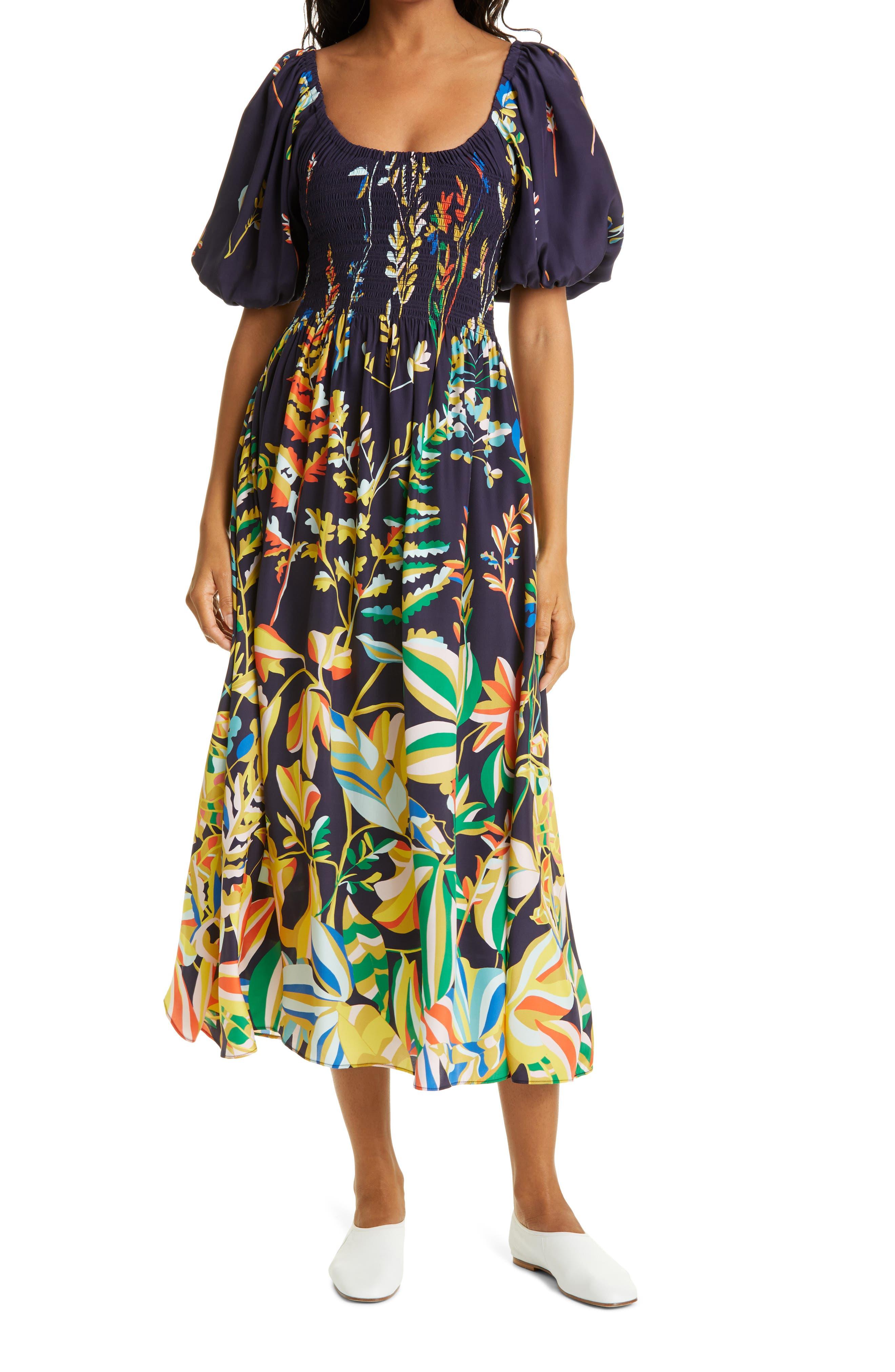 Floral Smock Bodice Silk Dress