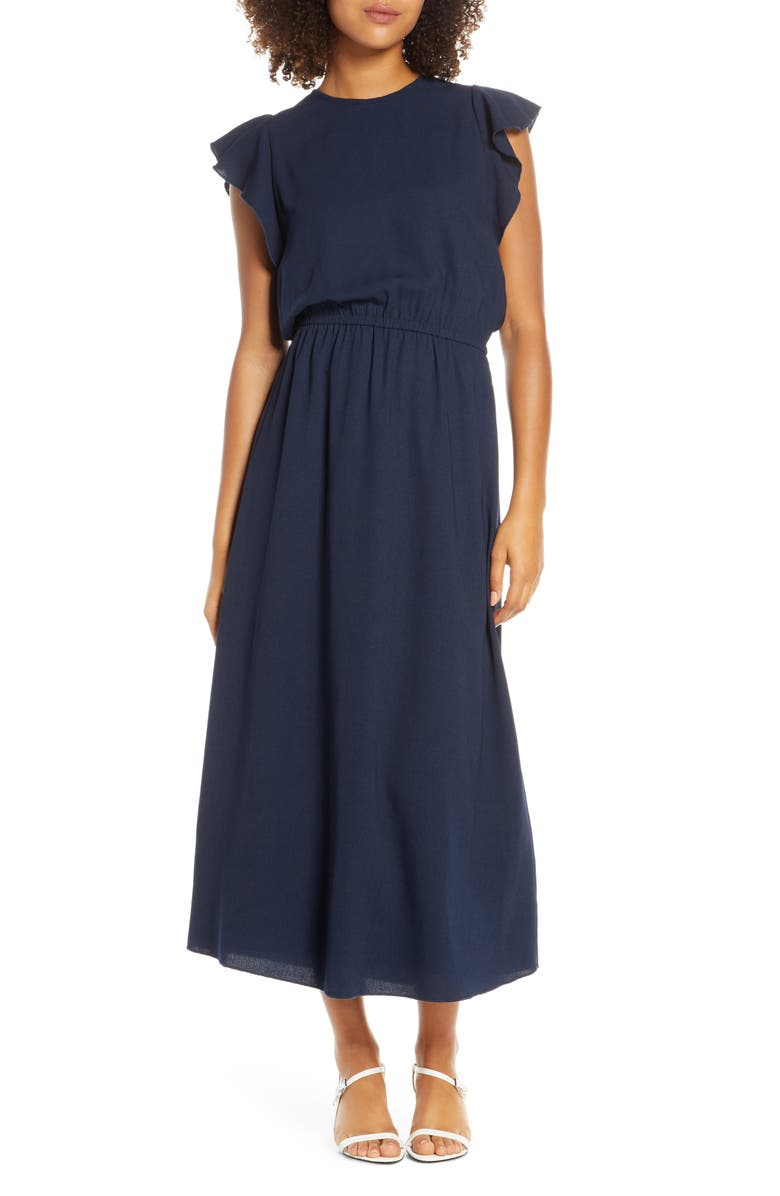 ELIZABETH CROSBY Ruffle Sleeve Blouson Dress, Main, color, NAVY
