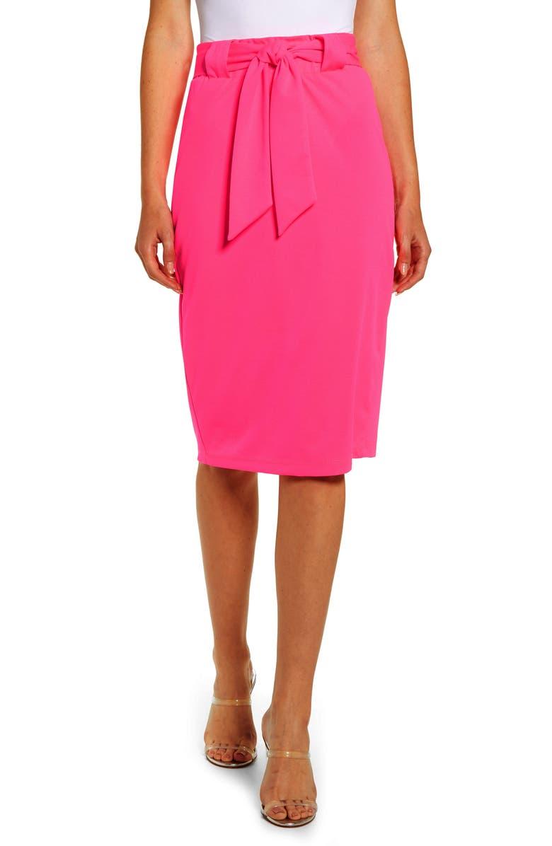 SENTIMENTAL NY Paperbag Waist Pencil Skirt, Main, color, NEON FUCHSIA